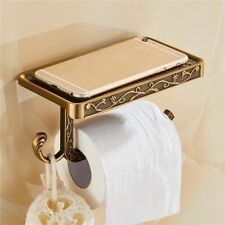 Bathroom Antique Toilet Paper Holder Phone Shelf Wall Mounted Rack Bronze Brass.