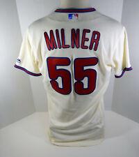 2018 Philadelphia Phillies Hoby Milner #55 Game Used Cream Jersey