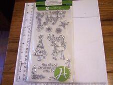 Hampton Art CHRISTMAS REINDEER JOY Clear Stamps GREETINGS Tree Holly Retired