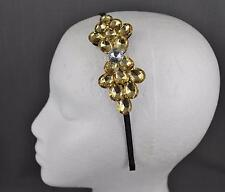 Yellow crystal thin skinny dressy headband hair accessory head piece fascinator