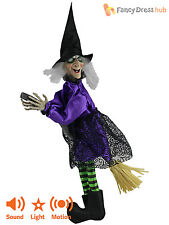 Animated Witch Decoration Talking Moving Hanging Halloween Party Prop Kids Fun