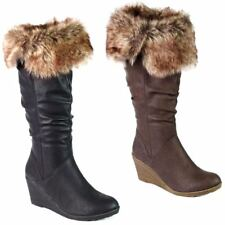 Ladies Wedge Boots New Faux Leather Mid Calf Knee High Biker Fashion Fur Boots