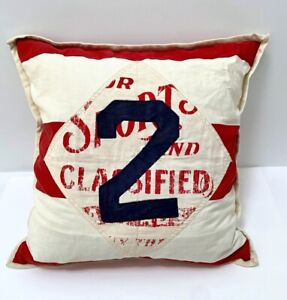 LAUREN Ralph Lauren Home RUGBY Patch Throw Pillow # 2 Red White Blue Americana