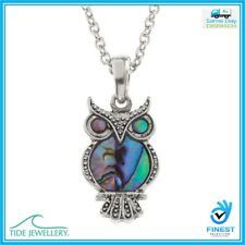 "Tide Jewellery Inlaid Paua Shell Owl Pendant On 18"" Trace Chain UK Brand TJ083"