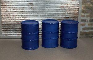 1/18 BLUE Barrels (3) Shop Garage Diorama from Austin's Garage