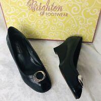 Brighton -Nelly- Size 8.5M Black Leather Python Peep Toe Wedge Shoes Slip-ons