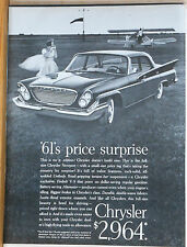 Vintage 1961 magazine ad for Chrysler - Chrysler Newport is NO Jr. Edition