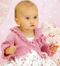 Knitting Pattern  Baby Girls Cardigan Beautiful Frills & Flower   DK 0 - 6 Years