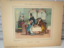 Lithographie, caricature de Grandville, restaurateur- World FREE Shipping* pl7