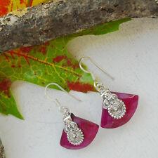 Indischer Rubin pink rosarot elegant Ohrringe Ohrhänger, 925 Sterling Silber neu