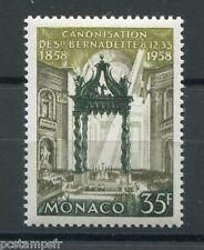MONACO 1958, timbre 500, APPARITIONS LOURDES, neuf**, BERNADETTE, VF MNH STAMP
