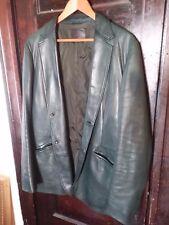 Prada 42 42R Green Lambskin Leather Blazer Coat Sportcoat Jacket
