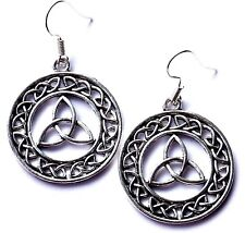 LARGE SILVER CELTIC DESIGN DROP EARRINGS WITH ORGANZA GIFT BAG