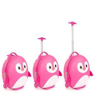 boppi Kids Cabin Bag Childrens Roller Luggage Kids Travel Cases Pink Penguin