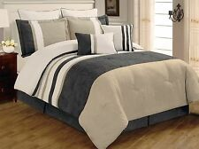 8 PC Grey, Beige & White Striped Micro Suede Queen Comforter Bedding Set