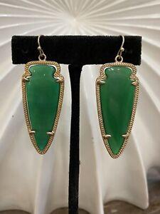 Kendra Scott Rare Emerald Green Jade Skylar Earrings