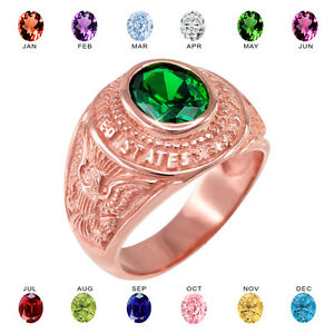 Solid 14k Rose Gold US Army Men's CZ Birthstone Ring