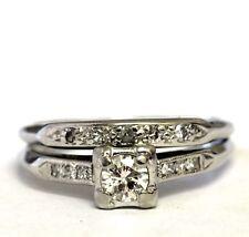 Platinum .28ct Vs H round diamond engagement ring wedding band 4.3g