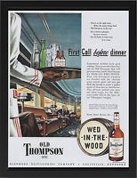 OLD THOMPSON BOURBON 1946 VINTAGE AD REPRO A3 FRAMED PHOTOGRAPHIC PRINT POSTER