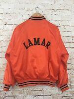 Vintage Pla-Jac Dunbrooke Orange Satin Jacket Mens Large 44-46 LAMAR