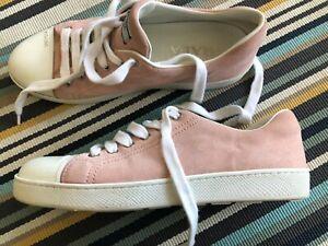Prada suede pink sneakers in size 37.5, pre loved