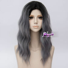 50CM Black Mixed Gray Medium Curly Hair Ombre Harajuku Lolita Party Cosplay Wig