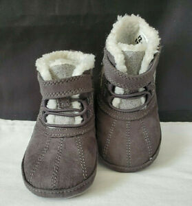STRIDE RITE SURPRIZE 'DEAN BOYS' - GRAY FLEECE LINED BABY BOOTIES - 12-18 MONTHS