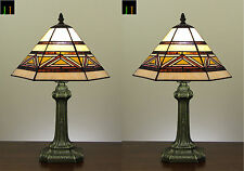 Pair Tiffany Southwestern Mission Style Stained Glass Bedside Side Table Lamp