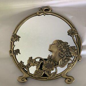 Vintage Art Nouveau Deco Brass Maiden & Flowers Round Standing Mirror