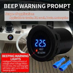 12-24V Black Car Motorcycle Dual LED Digital Voltmeter Ammeter Amp Meter Guage