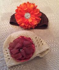 Handmade Crochet and Silk Flower Baby Hats with Bling Brown/Orange and White/Red
