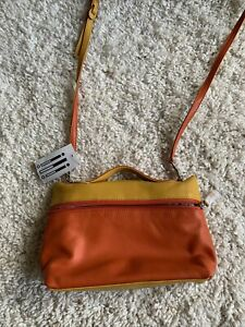 ili New York Genuine Leather Crossbody Purse Color Block Stripe Tricolor