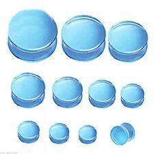 "PAIR-Blue UV Transparent Acrylic Double Flare Ear Plugs 16mm/5/8"" Gauge Body Jew"