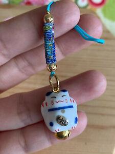 Lucky Cat Maneki Neko Japanese Ceramic 2.2 cm. Wonderful Chirimen Cord Strap