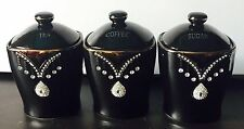 DIAMANTE TEA COFFEE SUGAR CANISTERS JARS STORAGE Pineapple KITCHEN ROMANY