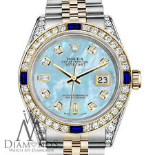Rolex 26mm Datejust Baby Blue MOP 8+2 Dial with Sapphire & Diamond Watch
