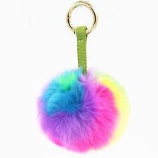 Cute Keychain Faux Rabbit Pom Poms Fur Ball Keychain Rainbow Bag Purse Charm