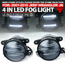 2 Pcs 4 Inch Round CREE LED 60W Fog Light with DRL for 97-17 Jeep Wrangler JK TJ