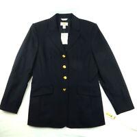 $178 Talbots Classic Stretch Wool Blue Blazer Gold Buttons Size 6 Preppy Japan