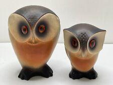 VINTAGE ROSELANE POTTERY FIGURINES OWL SET OF 2 MODERNIST MCM CALIFORNIA 7in