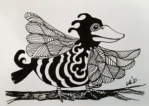 DAILY SKETCH:Original Ink Drawing 'Striped Bird' Michelle Ranson