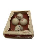 VTG Pyramid Unbreakable/Decorative Ornaments Box of 4 Featuring Santa!