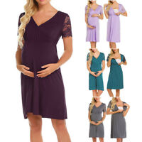 Womens Maternity Lace Splice Pregnant Nursing Nightgown Pregnancy Dress Dress