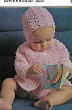 "1036 Baby Girl/Boy 4 ply Hat Coat & Pants Crochet Set 18-22"" Vintage Pattern"