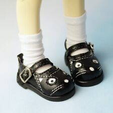 """1/6 Black Flats Shoes Synthetic Leather Panada For 11""""  BJD YOSD DK DD DZ DOLL"""