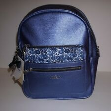 Kipling Amory Backpack in Metallic Scuba Diver Blue with floral pouch NWT