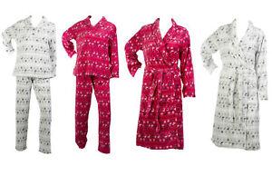 Fairisle & Reindeer Pattern Pyjamas Set or Bath Robe Ladies Fleecy Nightwear