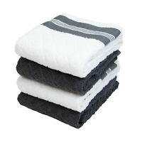 4 Pack of Kitchen Towels - Diamond Pattern - Soft Cotton 15x25 Dish Towel Set