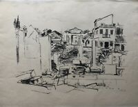 Lithografie Architektur Italien signiert 39 x 51 cm