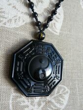 amulet necklace. Free P&P Cool carved Yin Yang obsidian